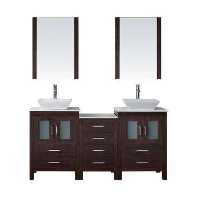Dior 67 in. W Bath Vanity in Espresso with Stone Vanity Top in White with Square Basin and Mirror and Faucet