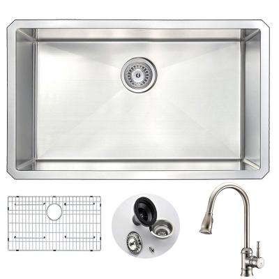 VANGUARD Undermount Stainless Steel 30 in. Single Bowl Kitchen Sink and Faucet Set with Sails Faucet in Brushed Nickel