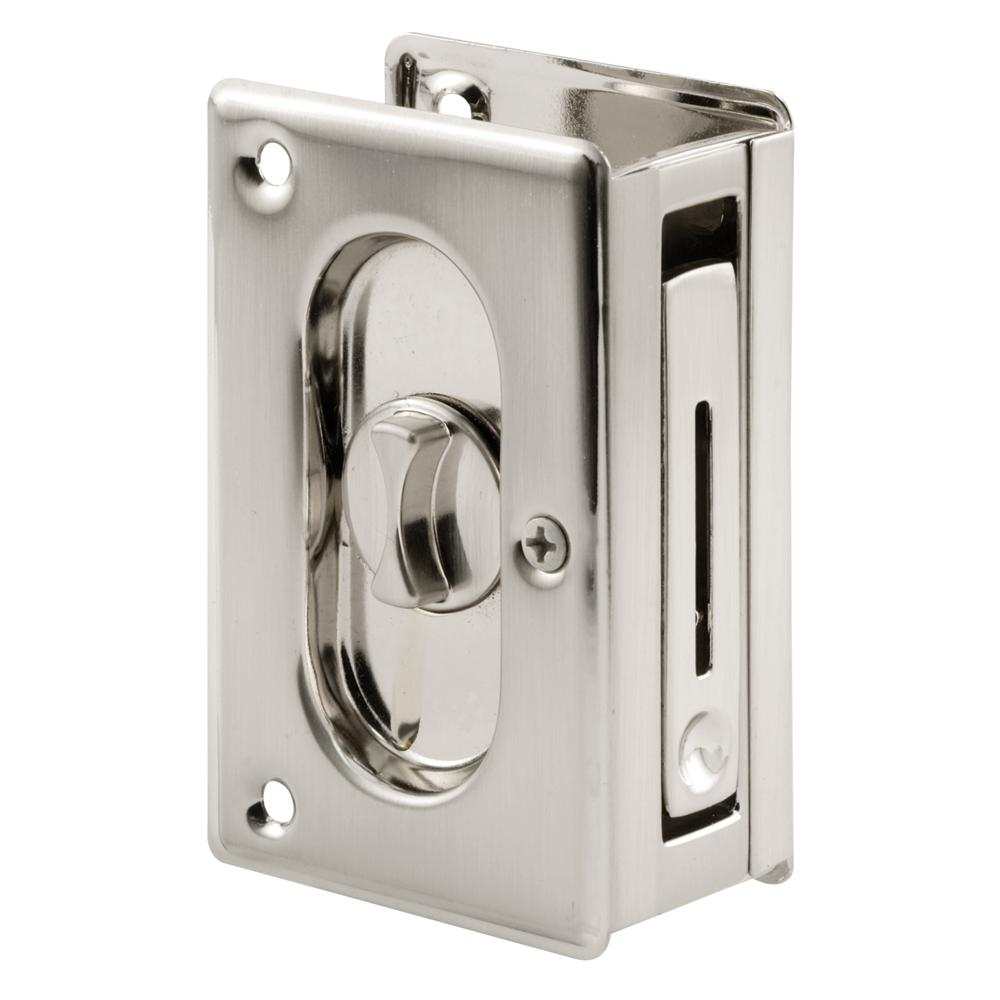 Prime Line 3 3 4 In Solid Brass With Satin Nickel Finish Pocket Door Privacy Lock And Pull N 7367 The Home Depot