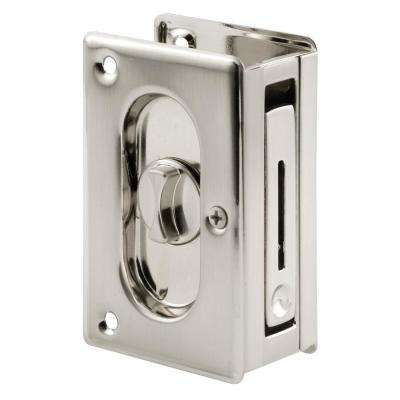 3 3/4 in., Solid Brass with Satin Nickel Finish, Pocket Door Privacy Lock and Pull