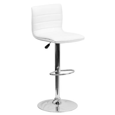 Adjustable Height White Cushioned Bar Stool