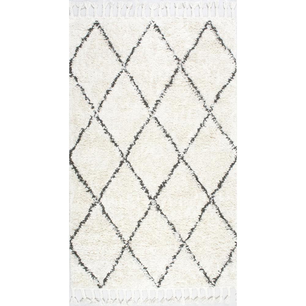 nuLOOM Hand Made Modern Geometric Moroccan Plush Shag Wool Area Rug in Ivory
