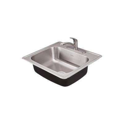 Colony Pro Drop-In Stainless Steel 25 in. 1-Hole Single Bowl Kitchen Sink Kit