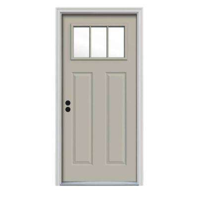34 in. x 80 in. 3 Lite Craftsman Desert Sand Painted Steel Prehung Right-Hand Inswing Front Door w/Brickmould