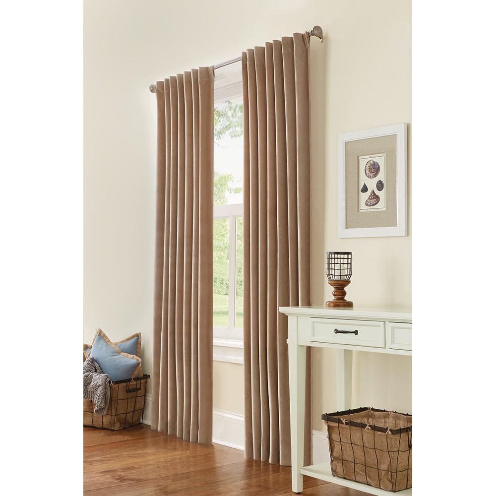 Home decorators collection semi opaque hdc velvet lined back tab curtain taupe 50 in w x 84 in Home decorators collection valance