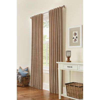 Semi-Opaque HDC Velvet Lined Back Tab Curtain Taupe 50 in. W x 84 in. L (1-Panel)