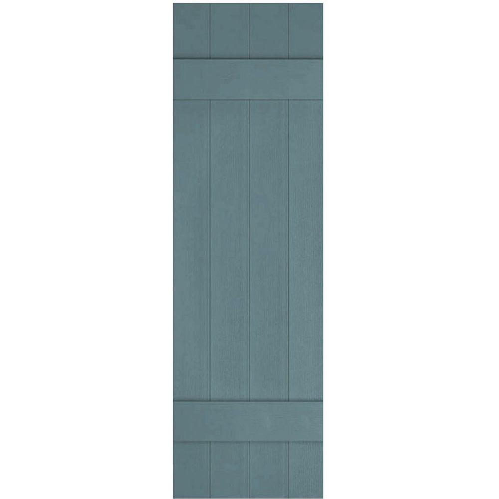 Ekena Millwork 14 in. x 42 in. Lifetime Vinyl Custom Four Board Joined Board and Batten Shutters Pair Wedgewood Blue