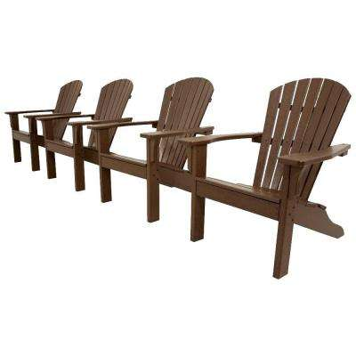 Classics Mahogany 4-Piece Shell Back Adirondack Patio Conversation Set