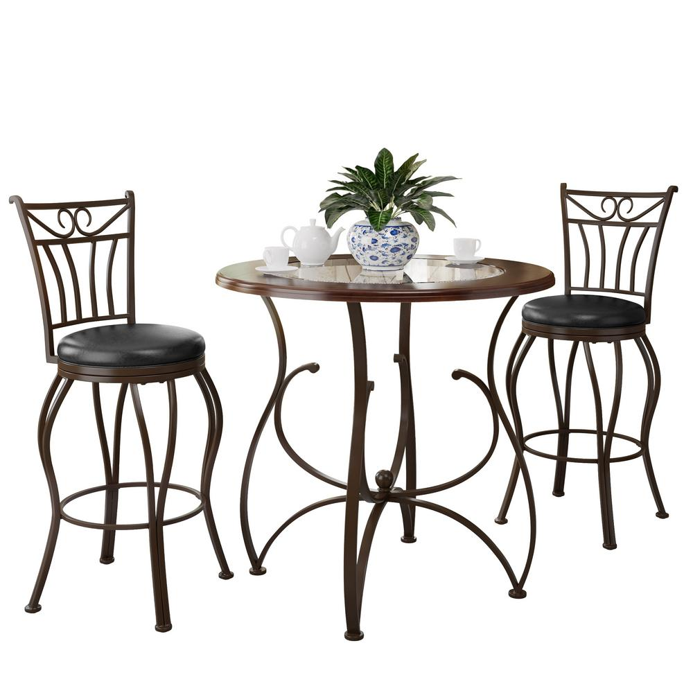 Jericho 3-Piece Glossy Brown Bar stool and Bistro Table Set