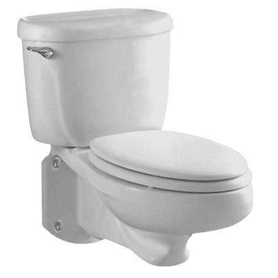 Glenwall Pressure Assisted Wall-Mounted 2-Piece 1.6 GPF Single Flush Elongated Toilet in White, Seat Not Included