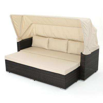Multi-Brown Wicker Outdoor Day Bed with Beige Polyester Cushion and Canopy