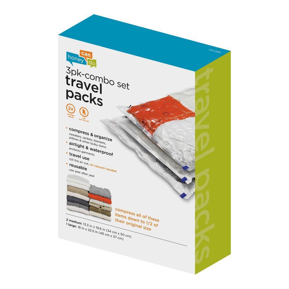 3-Pack Super Travel Combo Vacuum-Pack Storage Bags (2 Medium, 1 Large)