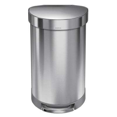 45-Liter Fingerprint-Proof Brushed Stainless Steel Semi-Round Step-On Trash Can