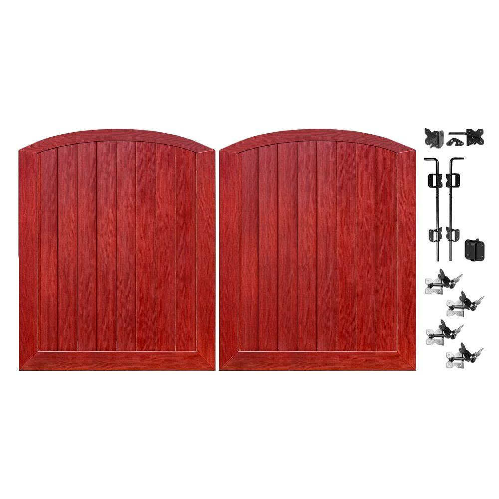 Veranda Pro Series 5 ft. W x 6 ft. H Cherry Vinyl Anaheim Privacy Double Drive Through Arched Fence Gate