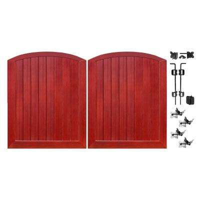 Pro Series 5 ft. W x 6 ft. H Cherry Vinyl Anaheim Privacy Double Drive Through Arched Fence Gate