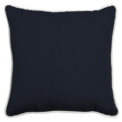 Oasis 18 in.  Classic Navy Blue  Square  Indoor/Outdoor  Throw Pillow