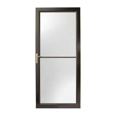 36 in. x 80 in. 3000 Series Black Left-Hand Self-Storing Easy Install Aluminum Storm Door with Brass Hardware