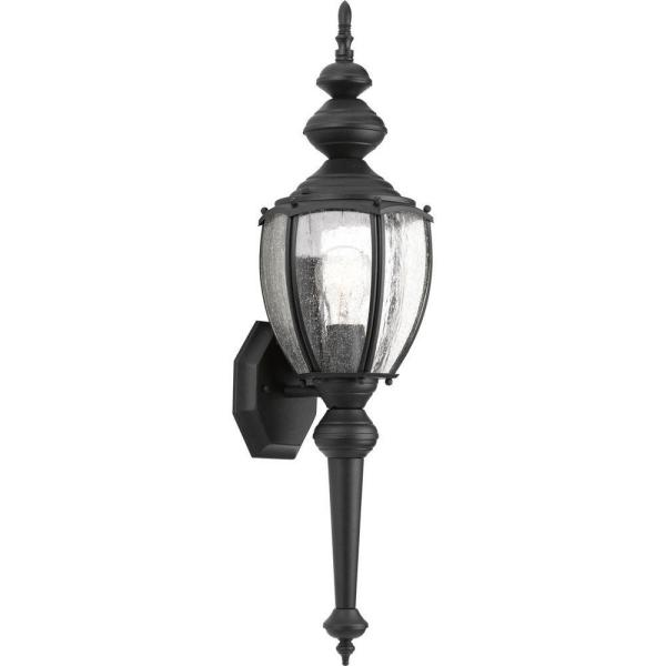 Roman Coach Collection 1-Light 19.25 in. Outdoor Black Wall Lantern Sconce