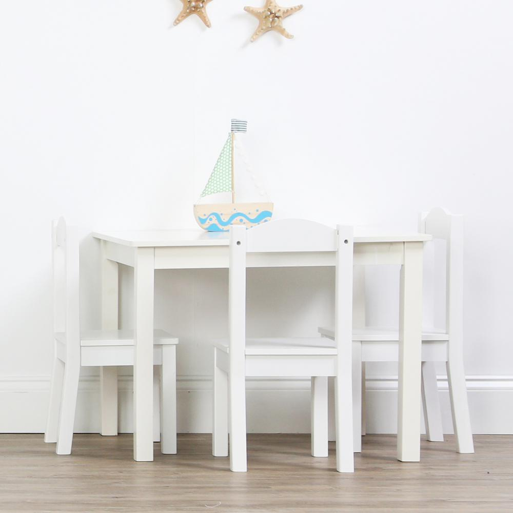 5-Piece Cambridge White Kids Natural Table and Chair Set