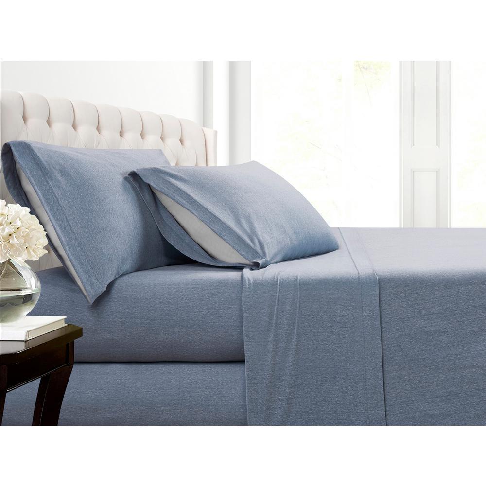 Heather Jersey 3-Piece Blue Solid Cotton Blend Twin XL Sheet Set