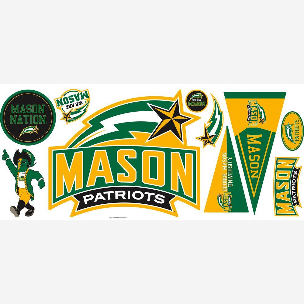 null George Mason University Peel and Stick Giant 10-Piece Wall Decals with 3 Hooks