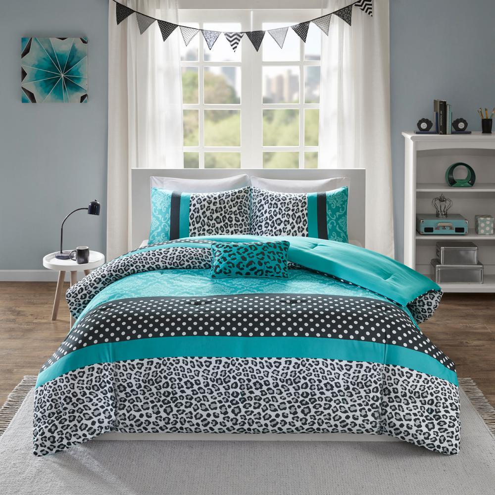 Camille 4-Piece Teal Full/Queen Comforter Set