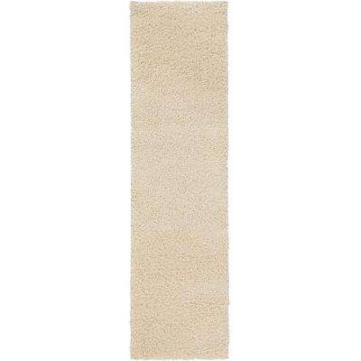 Shaggy Cream 2 ft. x 7 ft. Runner Rug
