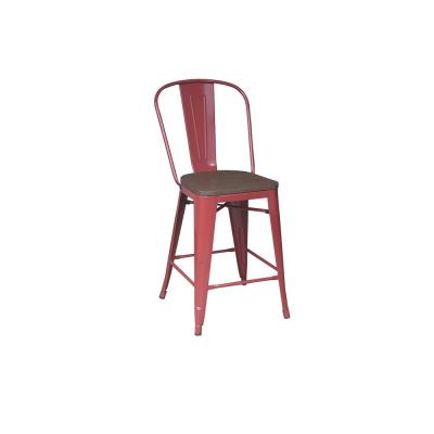 24 in. Chili Backed Counter Stool (Set of 2)