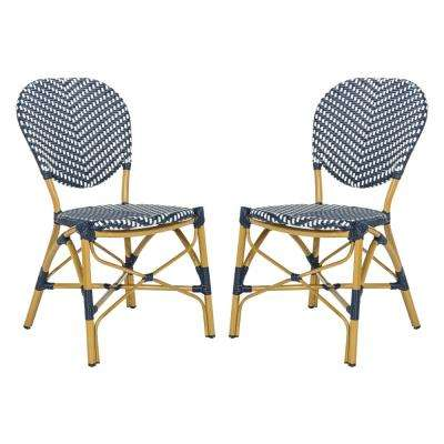 Lisbeth Stacking Aluminum Outdoor Dining Chair in Navy and White (Set of 2)