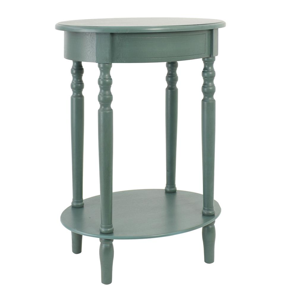 Decor Therapy Simplify Antique Teal Oval End Table