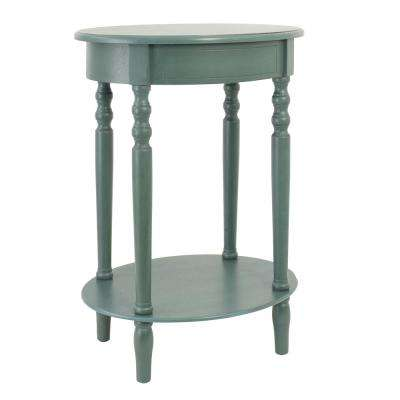 Simplify Antique Teal Oval End Table
