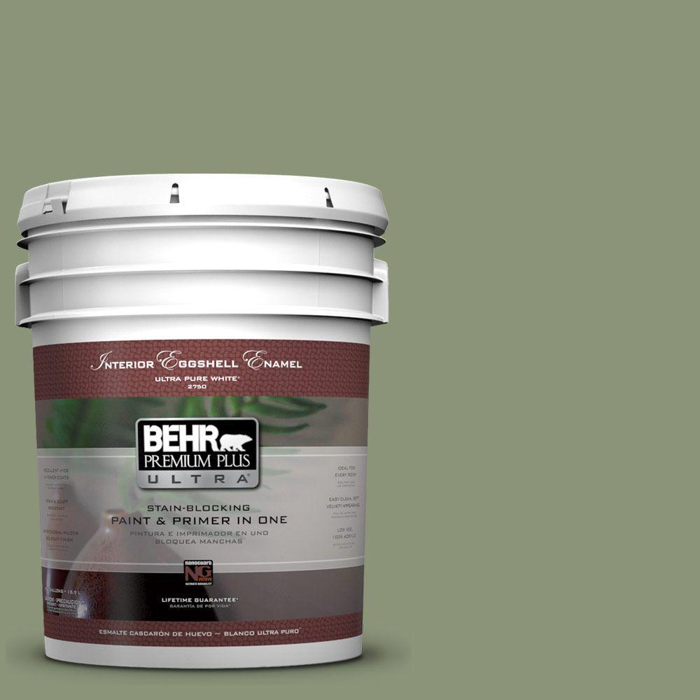 BEHR Premium Plus Ultra 5-gal. #420F-5 Olivine Eggshell Enamel Interior Paint