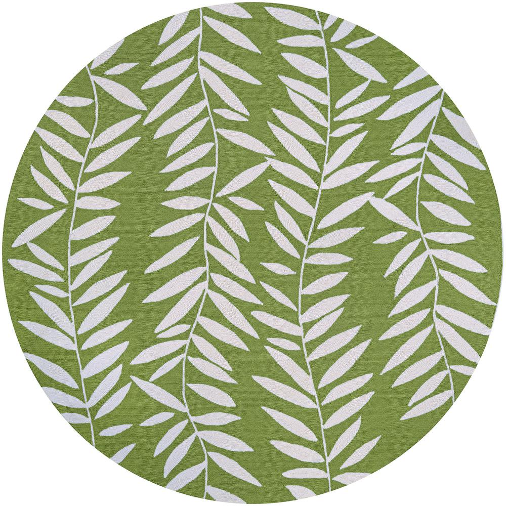 Couristan Covington Bamboo Leaves Lime 8 Ft X Round Indoor Outdoor