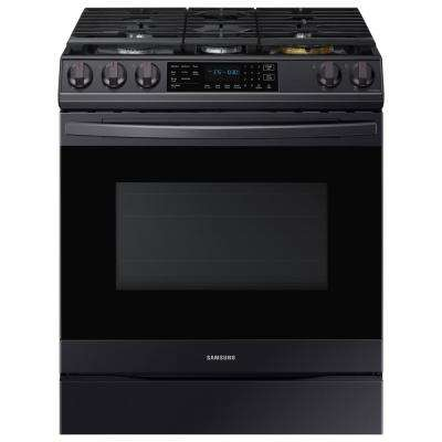 30 in. 6.0 cu. ft. Slide-In Gas Range with Air Fry and Fan Convection in Fingerprint Resistant Black Stainless Steel