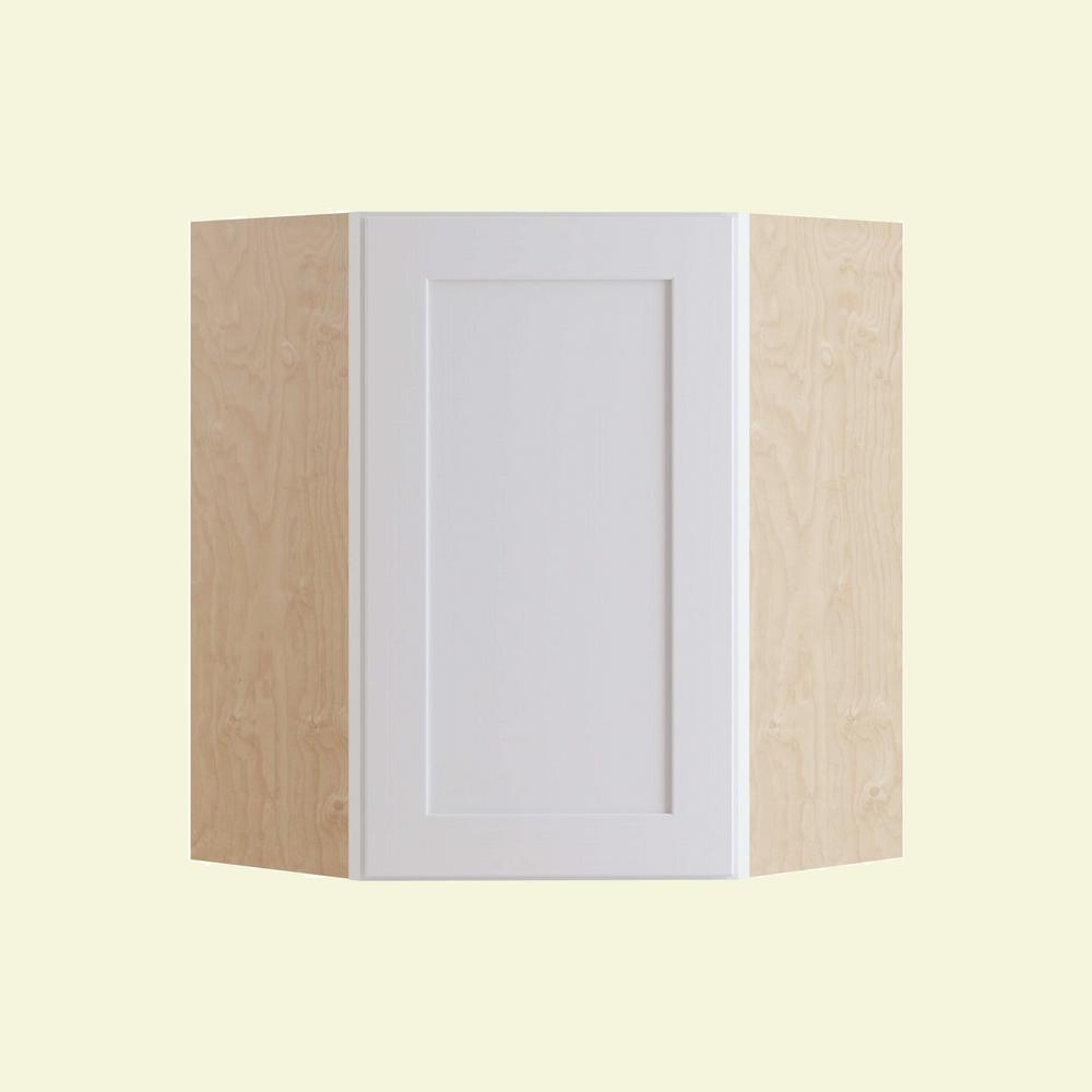 Home Decorators Collection Newport Assembled 24 in. x 30 in. x 24 in. Wall Angle Corner Kitchen Cabinet Right Hand in Pacific White