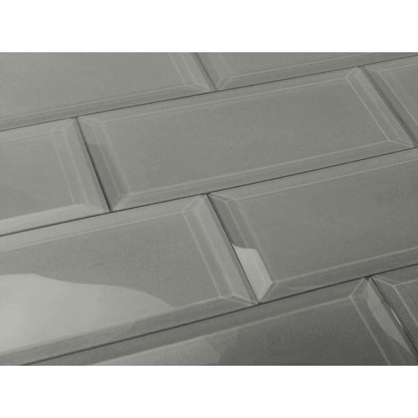 abolos subway 3 in x 12 in rectangle gray beveled glossy
