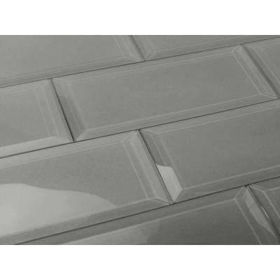 3 in. x 12 in. Frosted Elegance Josephine Gray Glass Peel and Stick Wall Tile Sample
