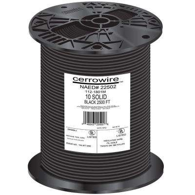 2500 ft. 10-Gauge Black Solid THHN Wire