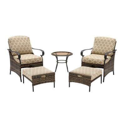Layton Pointe 5-Piece Brown Wicker Outdoor Patio Conversation Seating Set with CushionGuard Toffee Trellis Tan Cushions