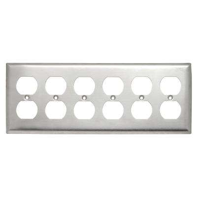302 Series 6-Gang Duplex Wall Plate, Stainless Steel
