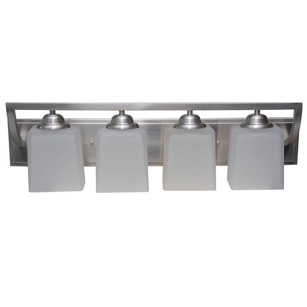 Hampton bay cankton 4 light brushed nickel bath vanity for Best lighting for bathroom vanity area