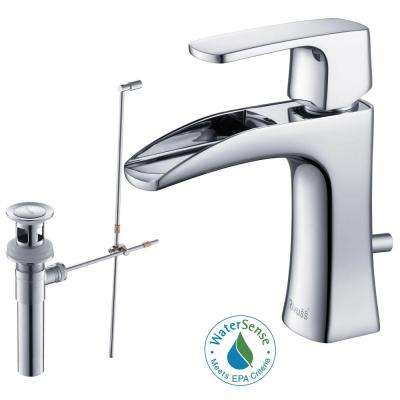 Carrion Single Hole Single-Handle Lead Free Solid Brass Bathroom Faucet in Chrome with Drain Kit