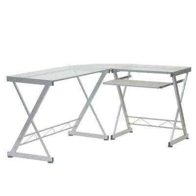 L-Shaped Clear Tempered Glass Top Computer Desk with Pull Out Keyboard Panel