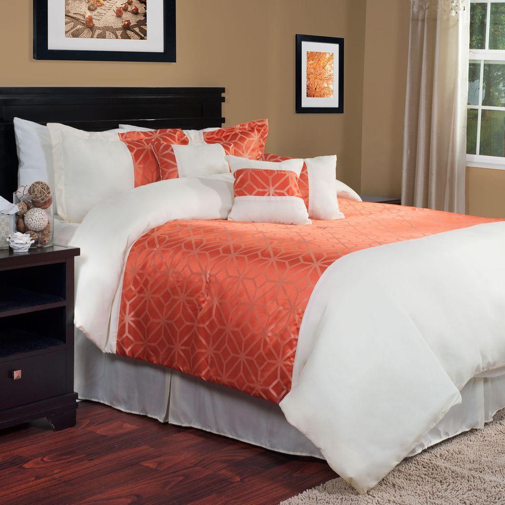 Morgan 7-Piece Orange King Comforter Set