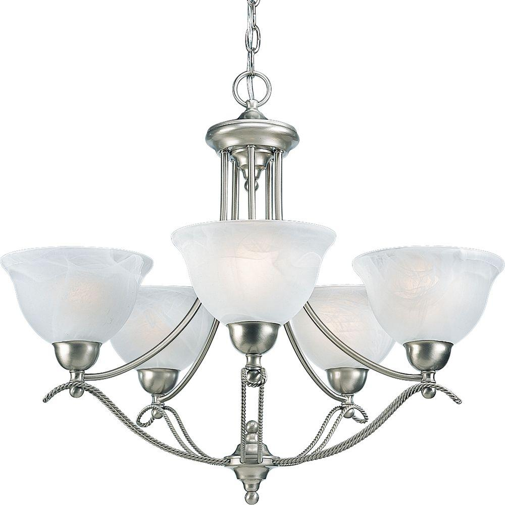 Progress Lighting Avalon Collection 5-Light Brushed Nickel Chandelier with Shade with Alabaster Glass Shade