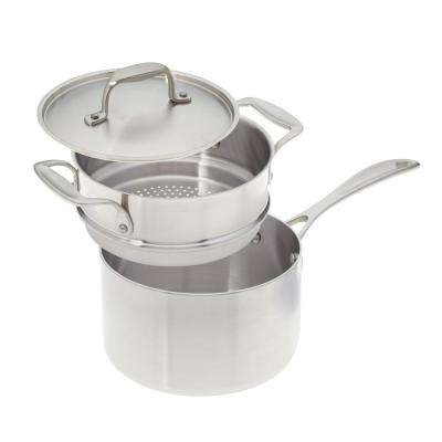 3 Qt. Premium Stainless Steel Saucepan with Steamer Insert and Cover