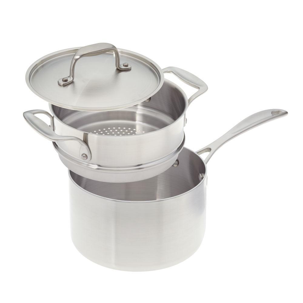 American Kitchen 3 Qt. Premium Stainless Steel Saucepan with Steamer Insert