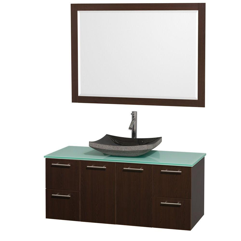 Wyndham Collection Amare 48 in. Vanity in Espresso with Glass Vanity Top in Aqua and Black Granite Sink