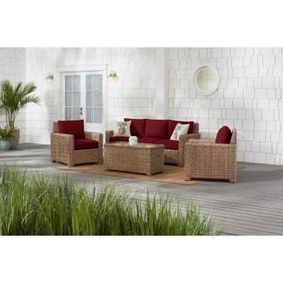 Laguna Point 4-Piece Natural Tan Wicker Outdoor Patio Conversation Seating Set with CushionGuard Chili Red Cushions