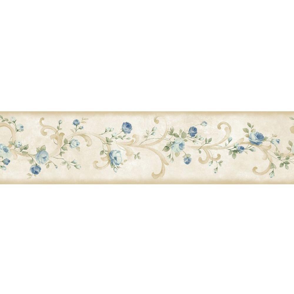 Scotney Blue Tearose Acanthus Blue Wallpaper Border Sample